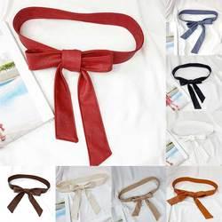 Solid Color PU Dress Belt Vintage Female Belt Soft Leather Elegant Bow Knot Tie Wrap Around Waist Belt Elastic Belts For Woman