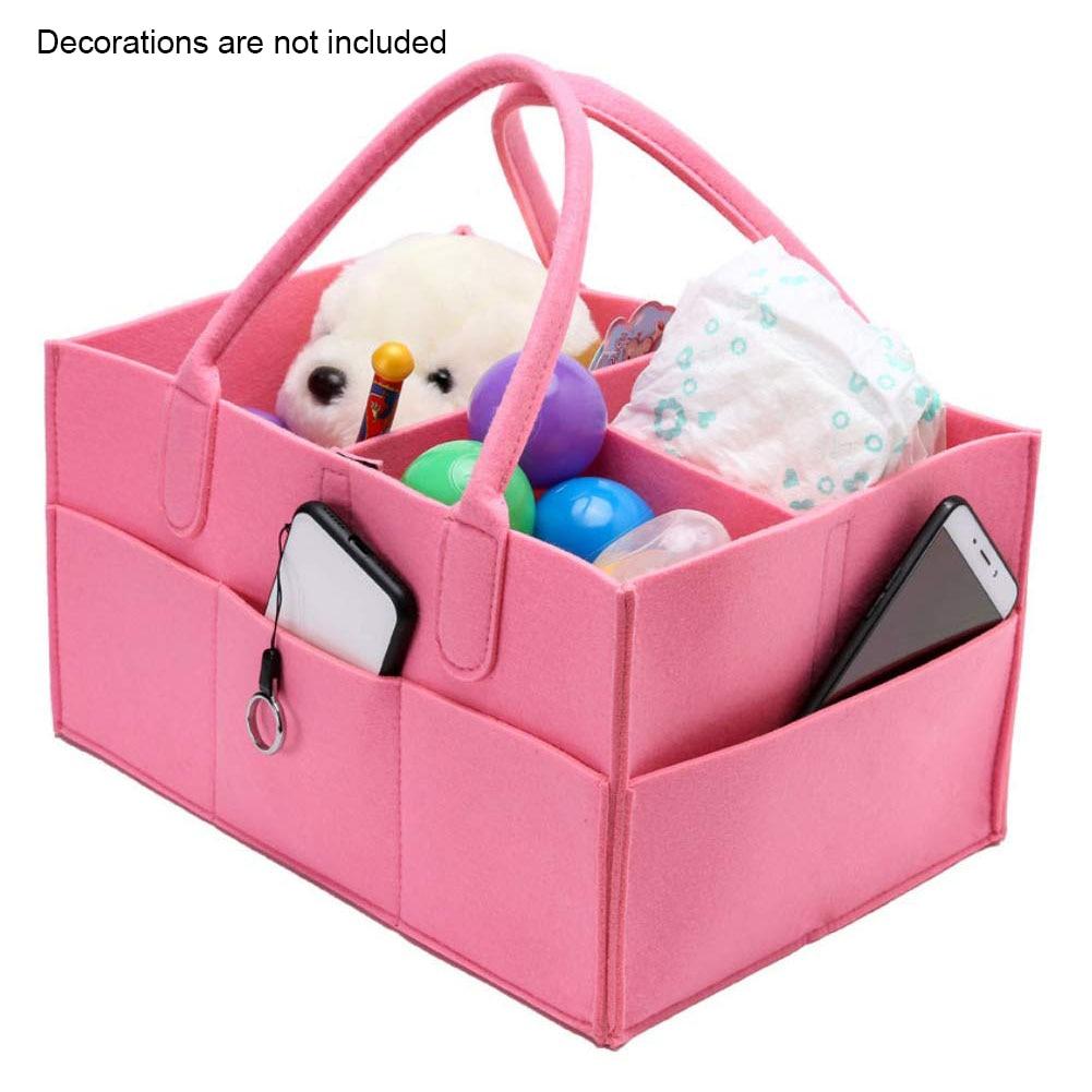 Organizer Portable Large Capacity Travel Baby Basket Camping Multi Pocket Felt With Handle Storage Diaper Bag Tote Shopping