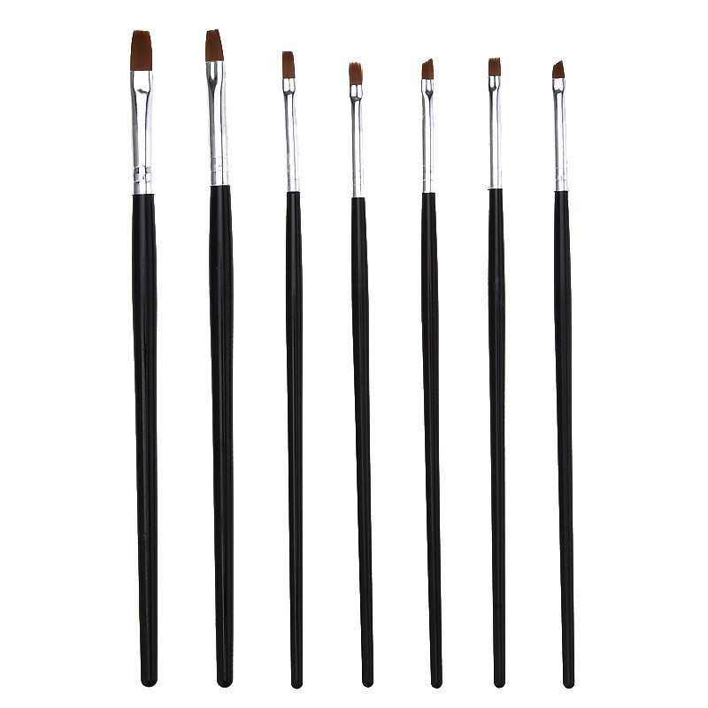 7 Sizes Painting Drawing Carving Pen Brush Acrylic For UV Gel Polish Builder Flat Design Tips DIY Nail Art Manicure Tools Set