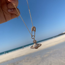 Planet Necklace Pendant Jewelry Paper-Clip Chokers Saturns-Pin Gifts Rhinestone Female