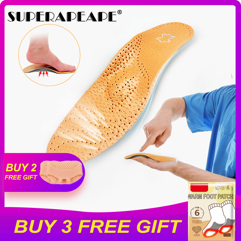 2 Pairs Hot Sale Leather Orthotics Insole For Flat Foot Arch Support 25mm Orthopedic Silicone Insoles For Men And Women Shoe Pad