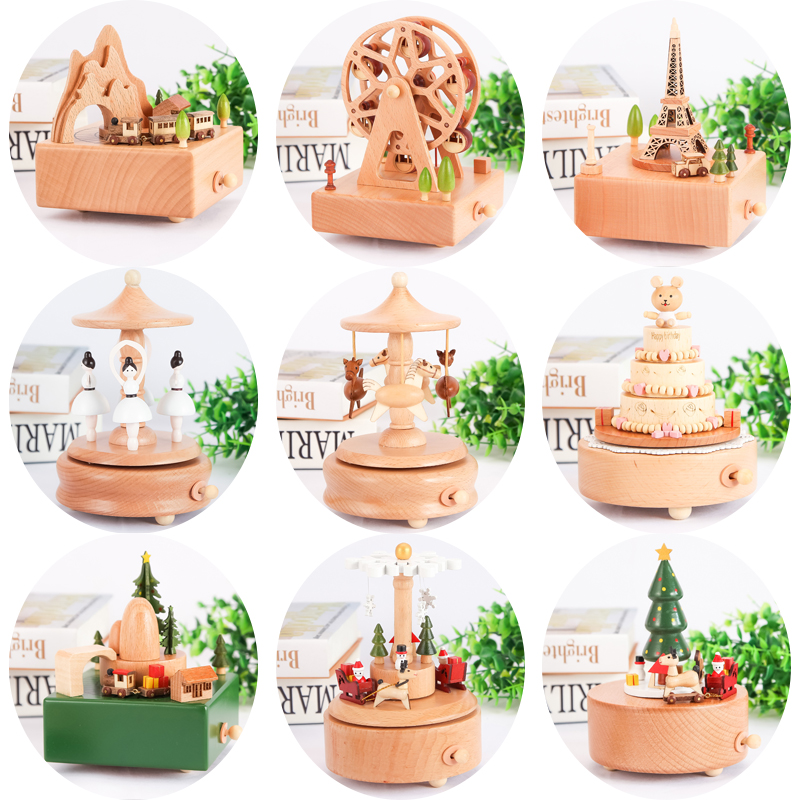 Wood Carousel Music Box Ferris wheel Little Girl Child Birthday Gift Home furnishings Retro wooden home decorations