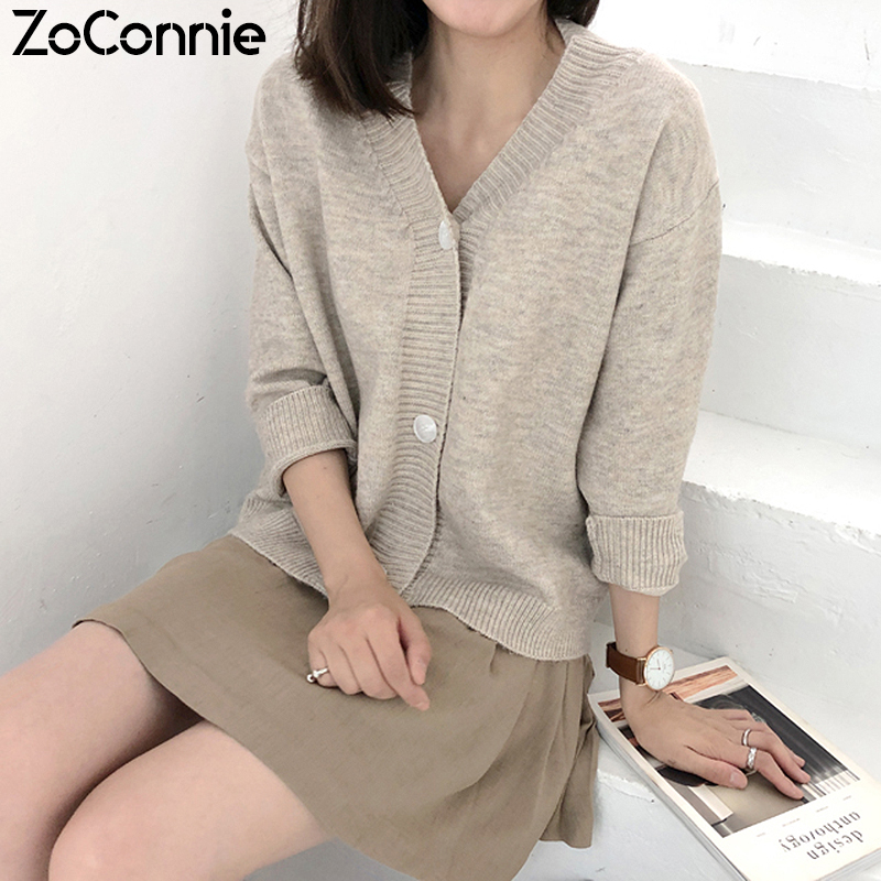 2020 Women Knit Cardigans Sweaters Solid V Neck Loose Knitwear Spring Autumn Single Breasted Jacket Coat Tops Cardigan Outwear