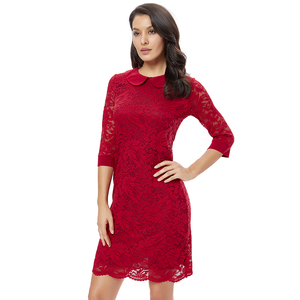 Image 1 - YTL Women Retro Vintage Half Sleeve Dress Elegant Dinner Party Dresses Burgundy Lace Doll Collar Plus Size Dress 6XL 8XL  H263