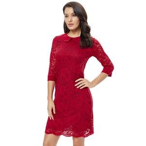 Image 1 - Ytl女性のレトロなヴィンテージ半袖ドレスエレガントなディナーパーティードレスブルゴーニュレース人形の襟プラスサイズドレス6XL 8XL h263