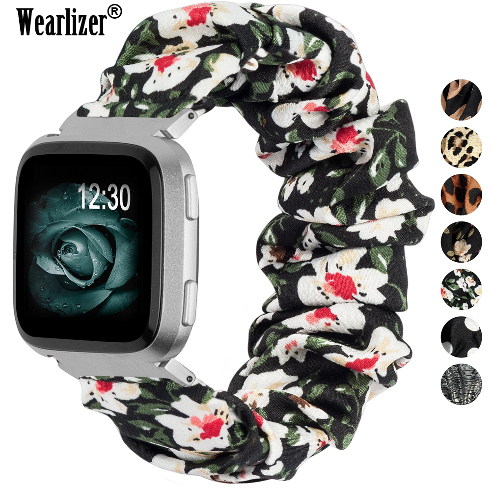 Women Elastic Fabric Band For Versa 2 Canvas Cloth Strap Replacement Scrunchies Wristband Accessories Strap For Fitbit Versa