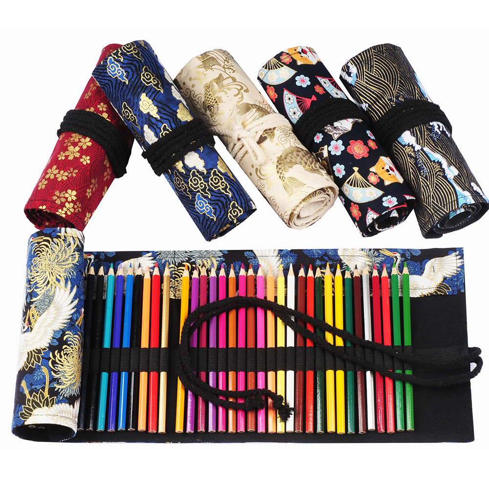 36 Holes Roll Pencil Case Cute Penalty Kawaii Canvas Pen Case Pouch Pencilcase Sketch Brush Box Pencil Bag Kids School Supplies