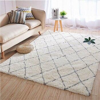 Alfombras de algodón marroquíes para dormitorio tapetes gruesos de felpa a cuadros,...