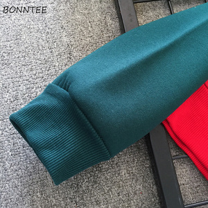 Image 4 - Sweat shirt en Patchwork, ample, polyvalent, style Hip Hop, pour femmes, Ulzzang, avec fermetures éclair en velours à manches longues, collection vestes à capuche femmes