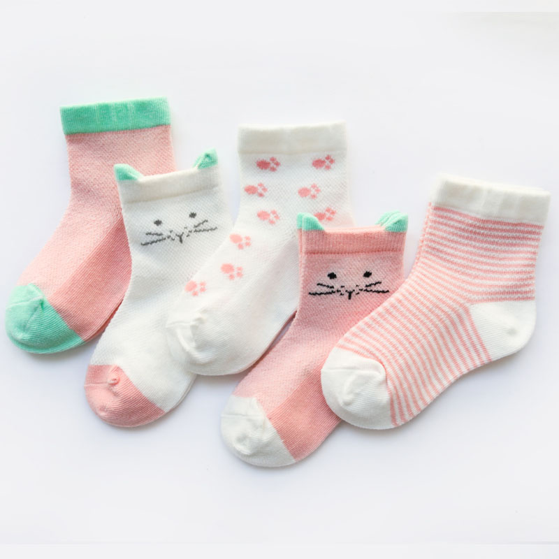 5 Pair/set Baby Girl Boy Mesh Anti-slip Socks 18M-24M Children Cartoon Cotton Socks Leg Warmers 4 Colors