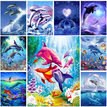 5d Diy Diamond Painting Marine Dolphin Embroidery Diamond Cross Stitch Full Circular Rhinestone Nouveaute 2019 Home Decor Gifts(China)