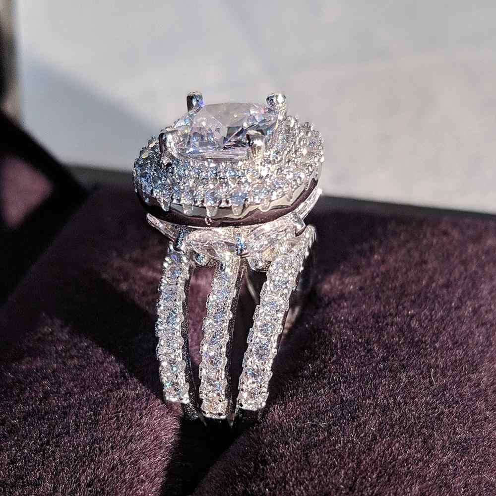 อินเทรนด์หรูหรา 925 แหวนหมั้นแหวนเงินสำหรับสตรีและ Ladys คริสต์มาสของขวัญกับเบาะ Zirconia R4898