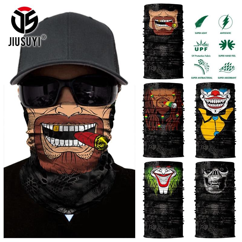 3D Seamless Headband Beard Man Joker Clown Skeleton Skull Neck Warmer Half Face Mask Sport Head Scarf Bandana Sun Protection