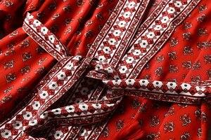 Image 3 - Vintage chic Donne Stampa Floreale rosso Fiocchi E Fasce della boemia Kimono Donna Con Scollo A V dei Manicotti del batwing Boho Maxi dress robe