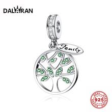 DALARAN 925 Sterling Silver Family Life Of Tree Heart Shape CZ Bead Charms Silver 925 Original Fit DIY Pandora Charm Bracelet 925 sterling silver bead shine family heritage dangle charm beads fit pandora charms silver 925 original bracelet diy jewelry
