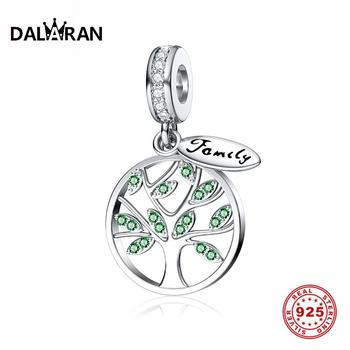 DALARAN 925 Sterling Silver Family Life Of Tree Heart Shape CZ Bead Charms Silver 925 Original Fit DIY Pandora Charm Bracelet tree of life 925 sterling silver tree of life family tree charms beads fit bisaer charm bracelet diy beads 925 silver jewelry