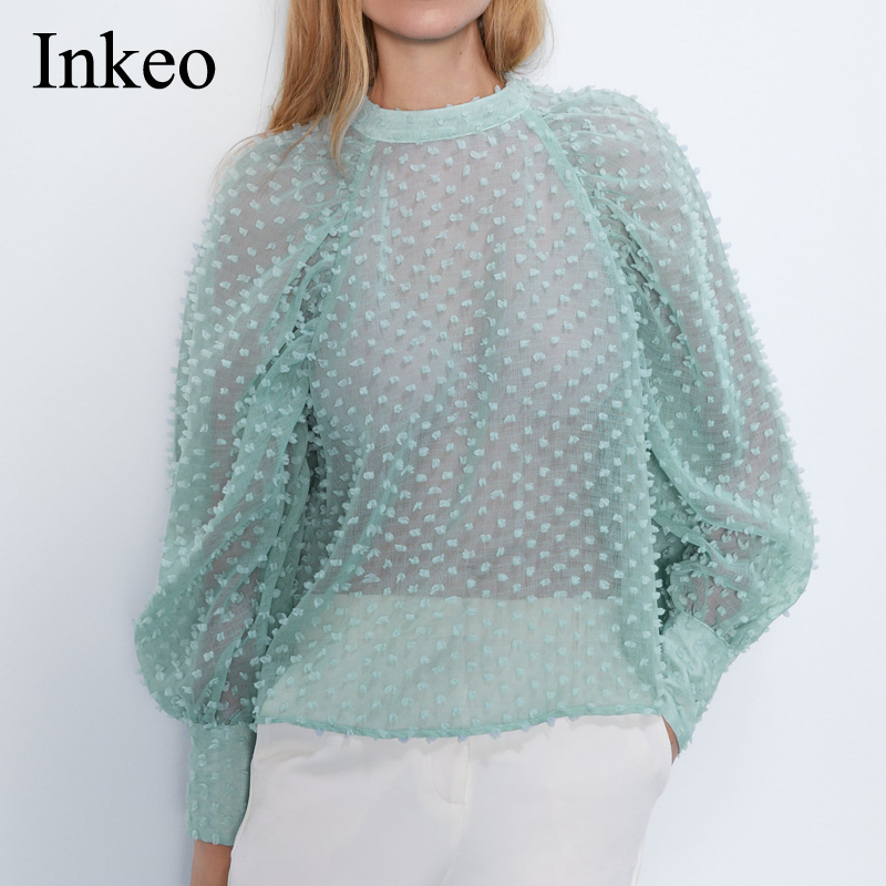 Women Semi-sheer Textured Blouse <font><b>Blue</b></font> 2019 Newest Sexy Loose Female <font><b>shirt</b></font> High neck Puff sleeve Tops Fashion Casual INKEO 9T014 image