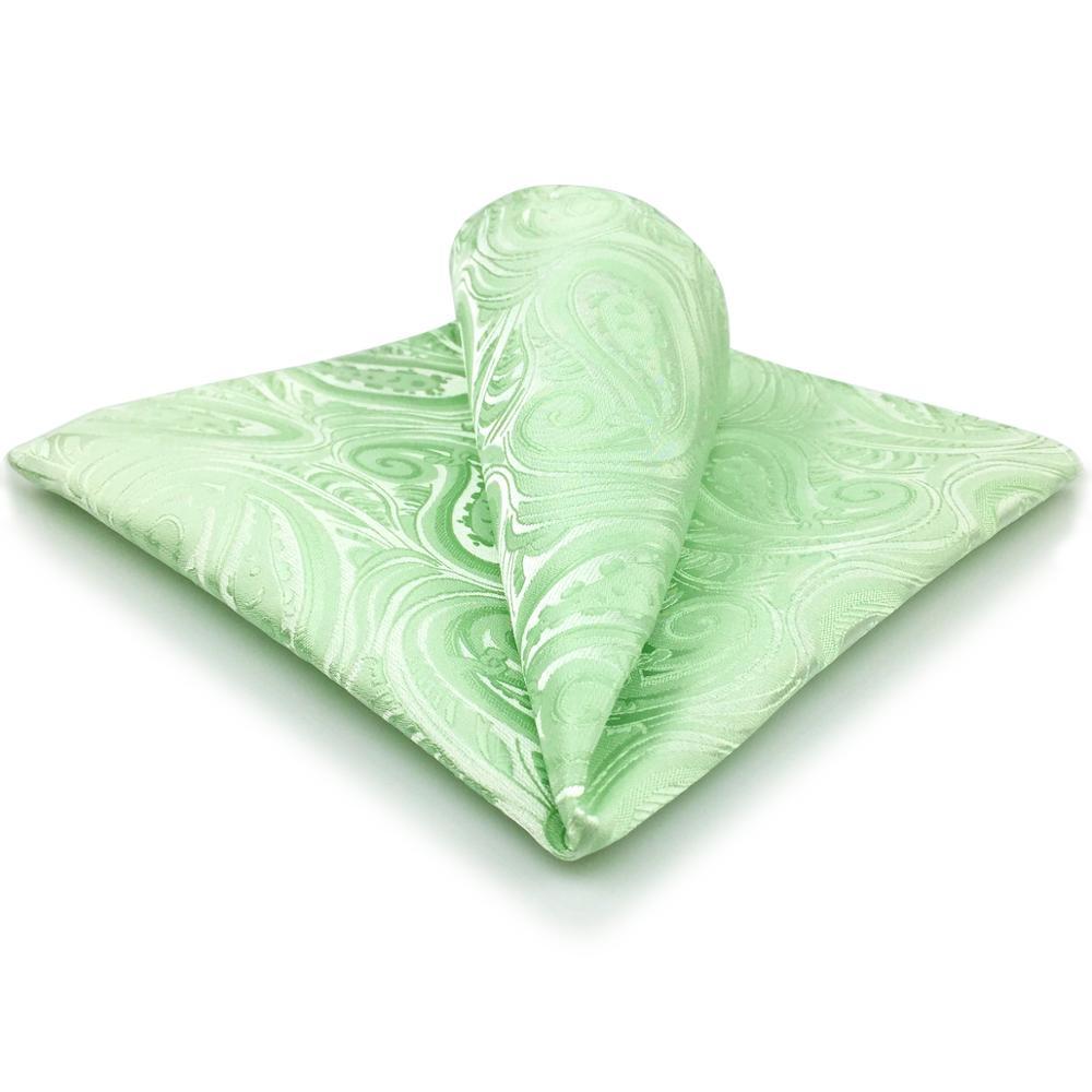 EH6 Light Green Paisley Silk Pocket Square Handkerchief Classic
