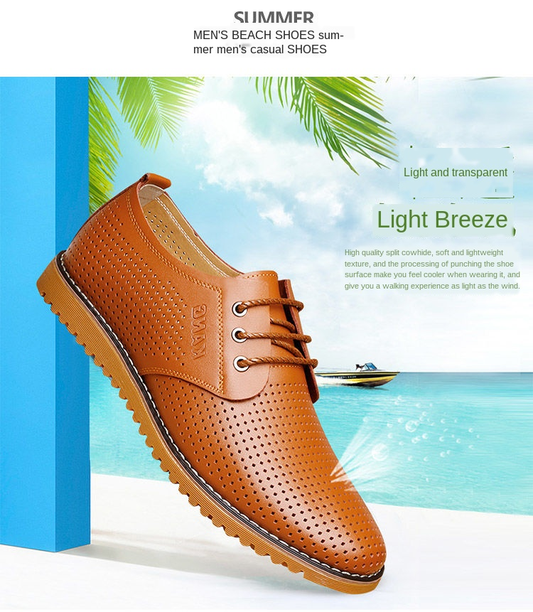 Новинка 2020 года; Мужская повседневная обувь; Кожаная Летняя