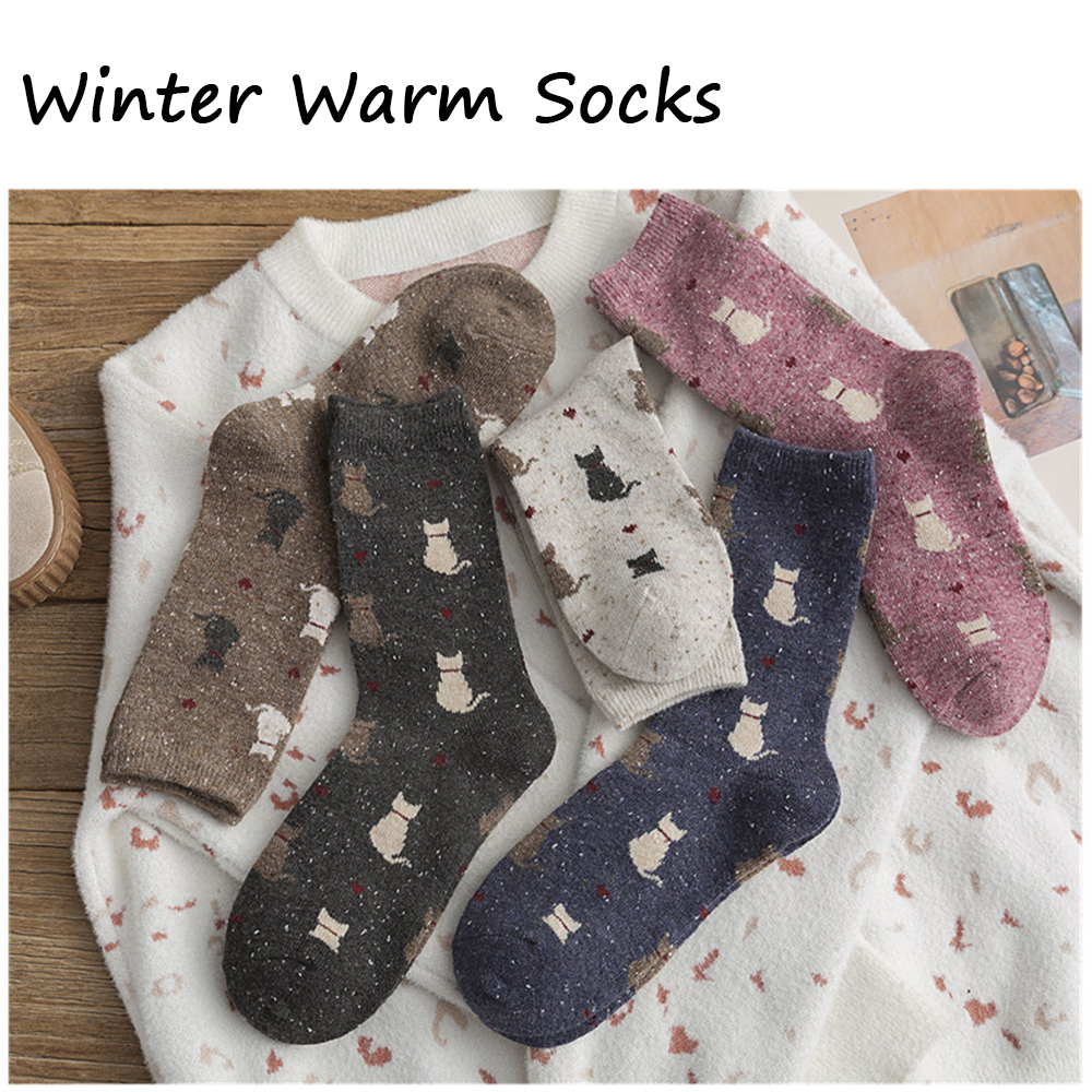 1Pair Women' Cute Sock Cat Pattern Cotton Mid Tube Breathable Animal Funny Sock Casual Autumn Winter Soft Thick Warm Socks