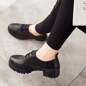 Image 5 - OUKAHUI Spring\Winter British Style Leather Shoes Women Square Heel Flat Platform Shoes Woman Lace Up Oxford Shoes For Women