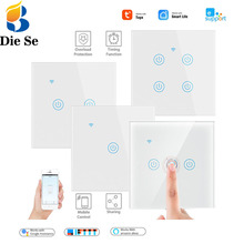 WiFi Smart Lighting Switch Glass Panel Touch Switch Compatible with Tuya App, Work with Alexa , Google Home Smart Wall Switch