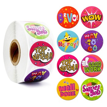 Cute Word Reward Stickers 500 Pcs Motivational Stickers Roll for School Classroom Teacher Student Stationery Stickers Seal Label 500 pcs roll zoo cartoon animal stickers 8 design stickers for children s classic toys stickers school reward kids stickers