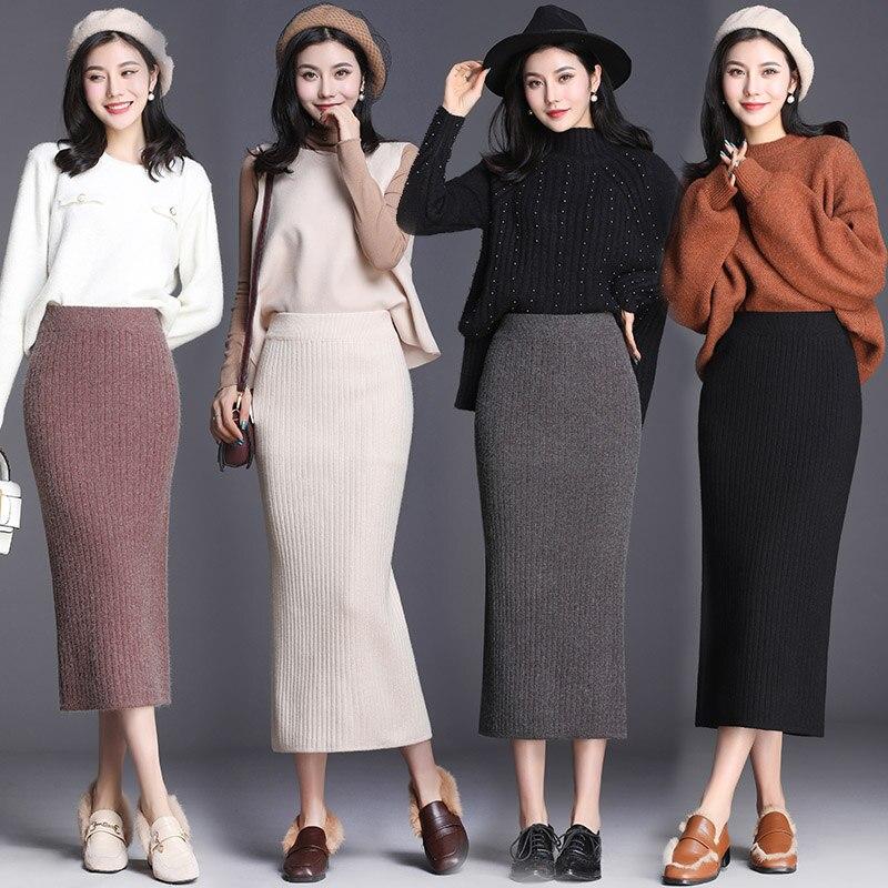 Autumn Winter New High Waist Bag Hip Knit Wool Skirt Long Comfortable Fashion Split One Step Ladies High Elasticity Winter Skirt