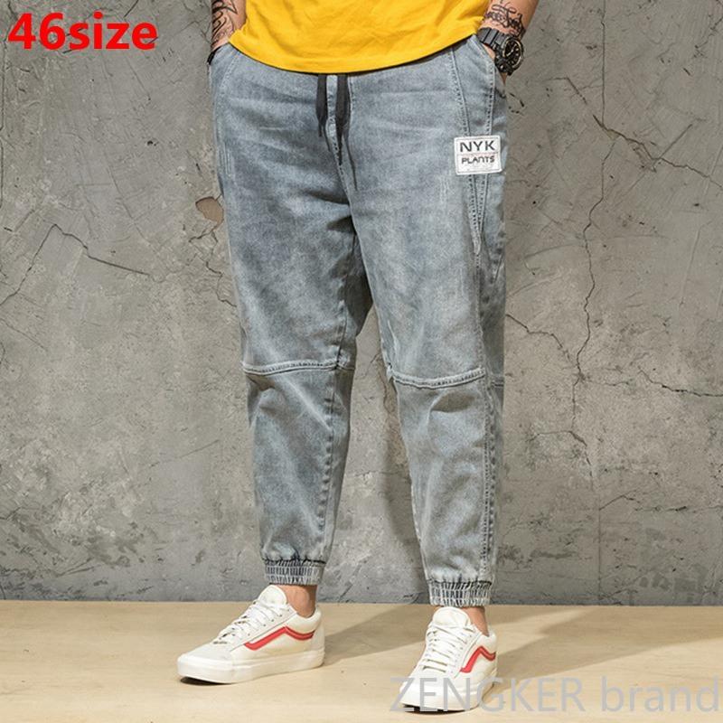 Spring And Autumn  Light Color Jeans Tide Men's Large Size Loose Harem Pants Japanese Trends Ankle-length Pants Bundle Pants 46