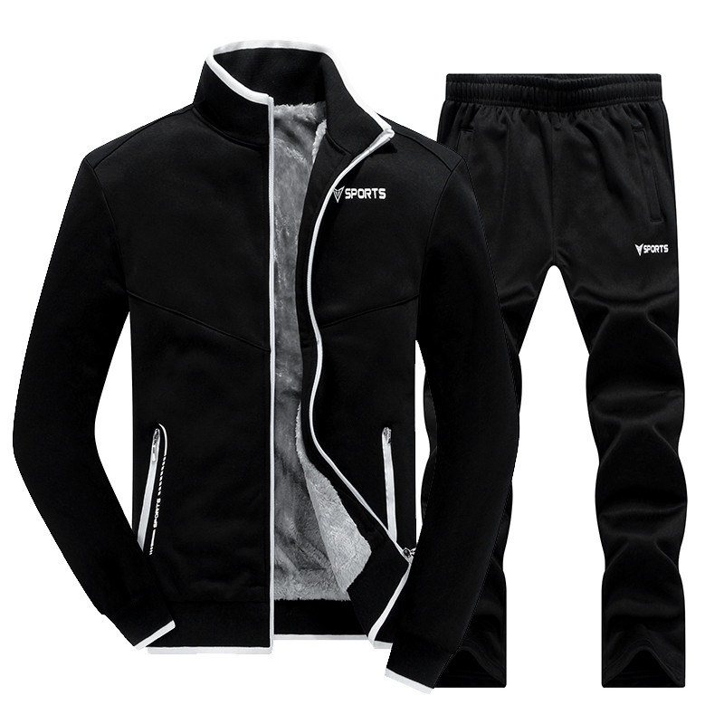 New Winter Men's Sets Plus Velvet Men Sportswear Set 2 PCS Jacket + Pants Slim Tracksuit Zip Pocket Male's Warm Clothing