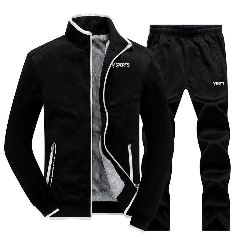 New Winter Men's Sets Plus Velvet Men Sportswear Set 2 PCS Jacket + Pants Slim Tracksuit Zip Pocket Male's Warm Clothing