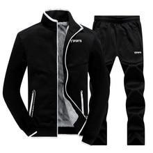 New Winter Mens Sets Plus Velvet Men Sportswear Set 2 PCS Jacket + Pants Slim Tracksuit Zip Pocket Males Warm Clothing