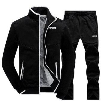 New Winter Men's Sets Plus Velvet Men Sportswear Set 2 PCS Jacket + Pants Slim Tracksuit Zip Pocket Male's Warm Clothing - discount item  36% OFF Men's Sets