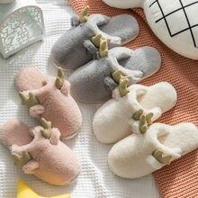 Женские меховые тапочки для дома теплые домашние из хлопка с