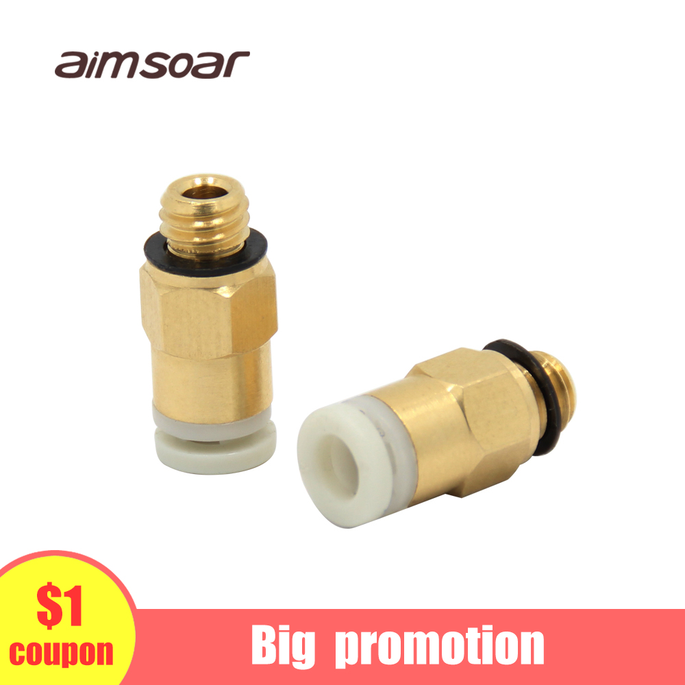 Pc4 M6 Pneumatic Connectors For 3D Printers Parts Bowden Quick Jointer Coupler Feeding 1.75mm Pipe 4mm PTFE Tube