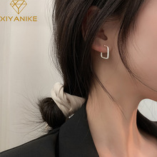 XIYANIKE 925 Sterling Silver Hot Sale Geometric Square Earrings Women Simple Temperament Fashion Sexy Elegant Exquisite Cерьга