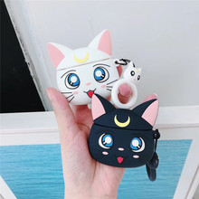 Cartoon Case for AirPods Cute Earphone Cases Apple Airpods2 Accessories Protect Cover with Finger Ring Strap Unique Luna Cat
