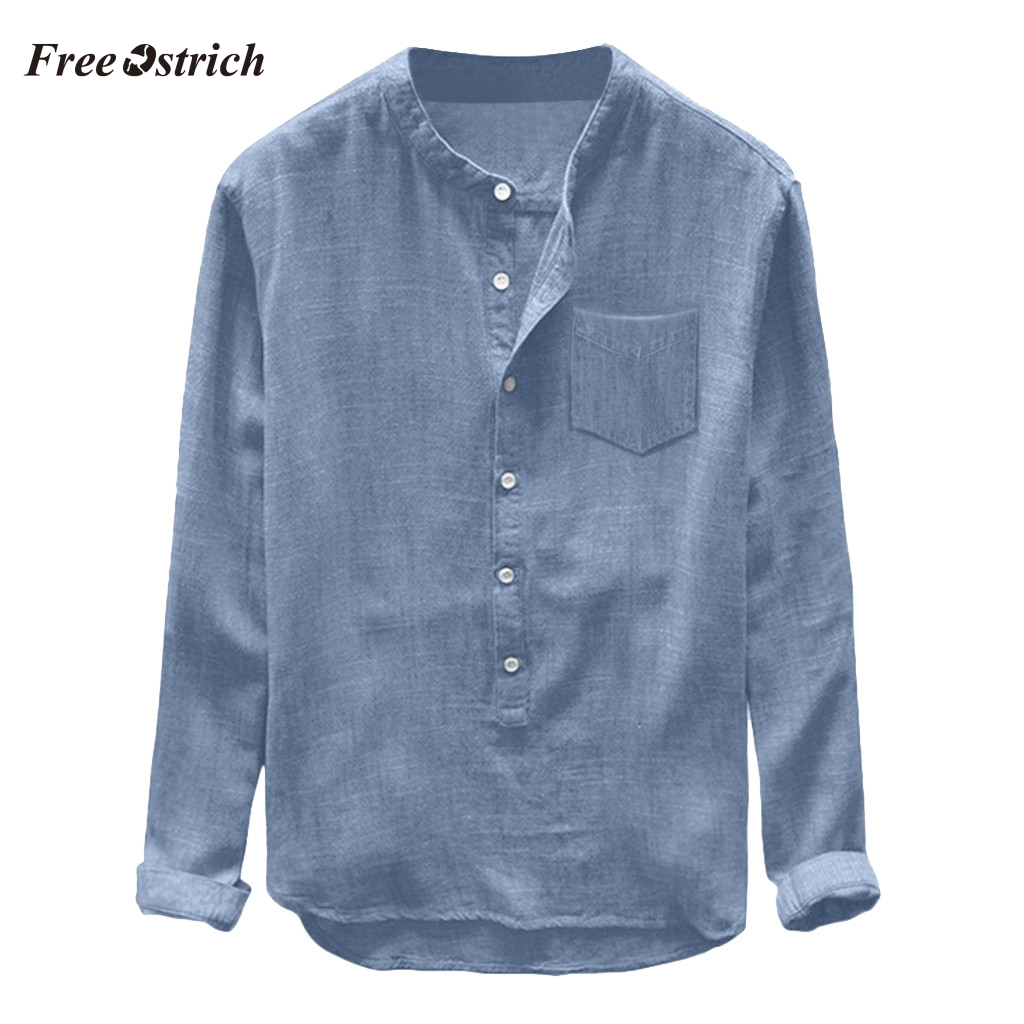 Free Ostrich Fashion Shirts Mens Trendy Shirt Button Casual Shirt Linen And Cotton Fashion Design Long Sleeve Top Blouse