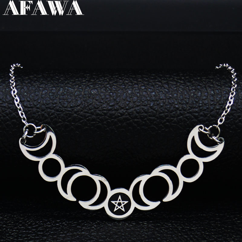 2019 Sun Moon Pentagram Stainless Steel Silver Color Necklaces Women Witchcraft Statement Necklace Jewelry gargantilla N427S02(China)