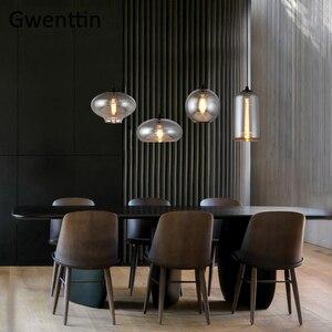 Image 3 - מודרני עשן אפור זכוכית תליון אורות סלון נורדי Led Hanglamp לופט תעשייתי תליית מנורת בית תפאורה Luminaire E27