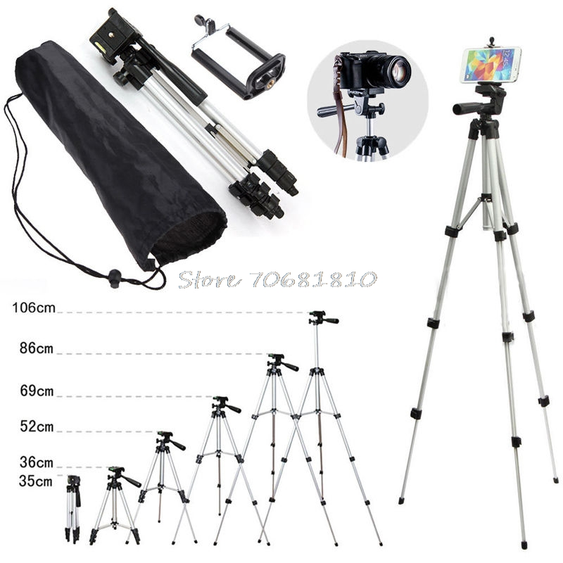 Professional Camera Tripod Stand Holder Mount For IPhone Samsung Cell Phone +Bag X6HA