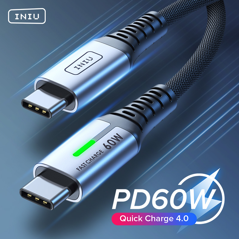 INIU PD 60W USB Type C Cable Fast Charging Shipping Phone Charger Cord For Macbook Pro iPad Xiaomi Mi Huawei Samsung LG One Plus 1