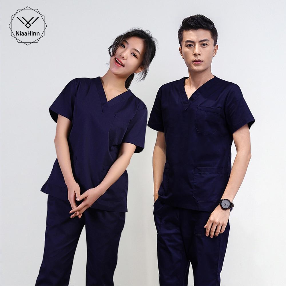 Nurse Uniform Women Medical Scrubs Set Uniforms Clothes White Red Nurse Scrub Uniform Costume Female Hospital Work Wear Unise