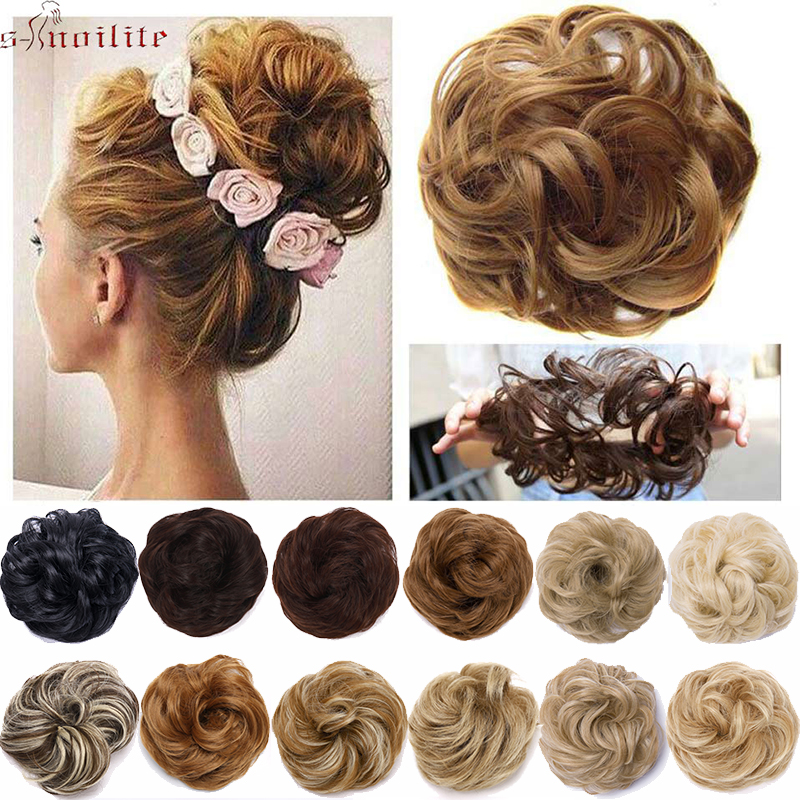 S-noilite Scrunchy Hair Bun Messy Curly Chignon Women Chignon Synthetic Hair Extensions Updo Donut Hairpieces Wrap Ponytail Hair