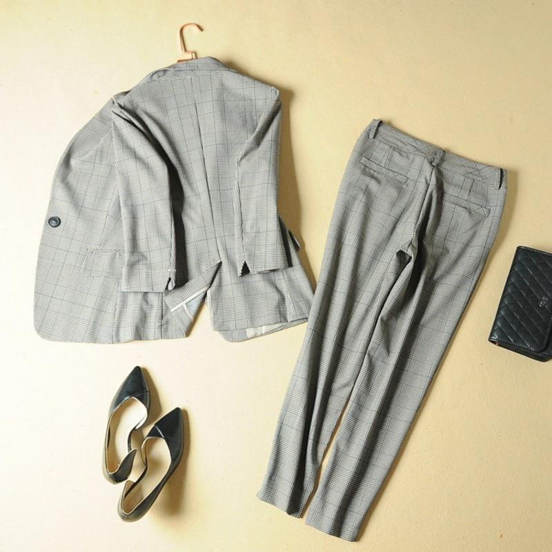 Fashion Office Ladies Plaid Suit Slim Fit Spring New 2pcs Blazer Pants Suits Vintage Business Work Outfits Set Ensemble Femme