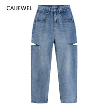 Calças de brim de perna larga rasgado cintura alta azul feminino plus size streetwear vintage baggy casual calças retas mãe denim