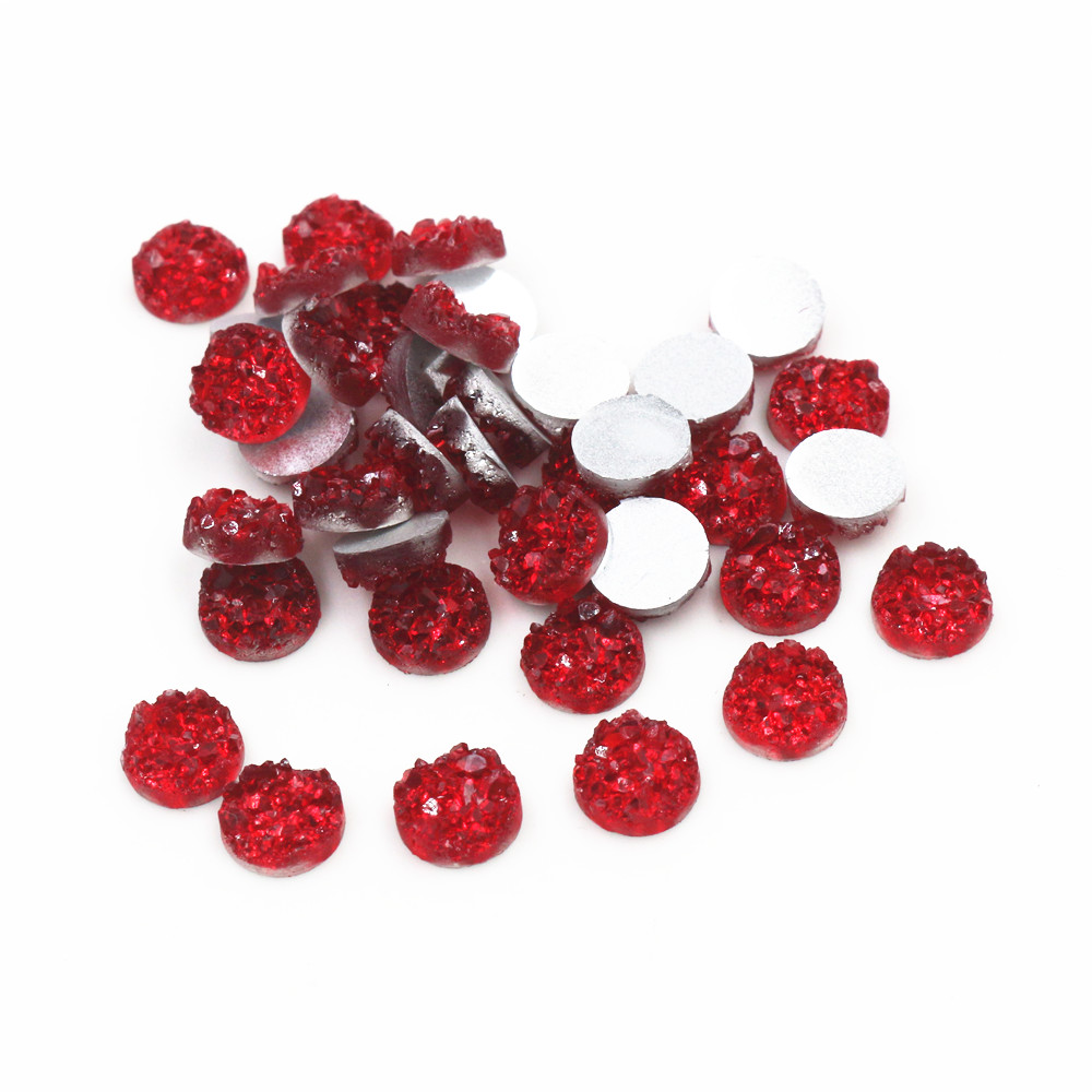 New Fashion 8mm 10mm 40pcs Dark Red Colors Natural Ore Style Flat Back Resin Cabochons For Bracelet Earrings Accessories