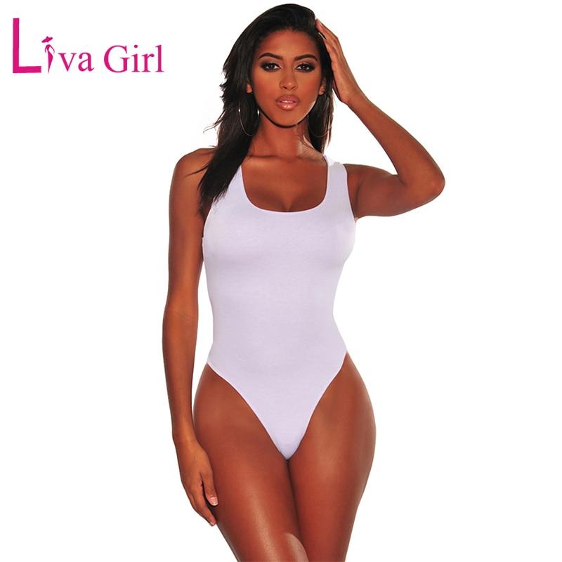 LIVA GIRL Solid White/Black Sleeveless Bodysuits For Women Bodycon Tank Bodysuits Sexy O-neck Jumpsuits Female Body Tops Summer
