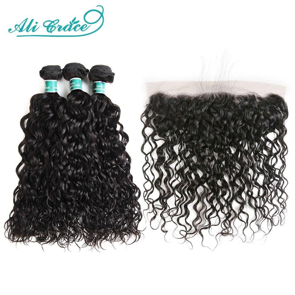 Paquets péruviens de cheveux de vague d'eau de cheveux d'ali Grace avec la dentelle 13x4 frontale 4 Pcs/lot paquets de cheveux humains avec la couleur naturelle de fermeture