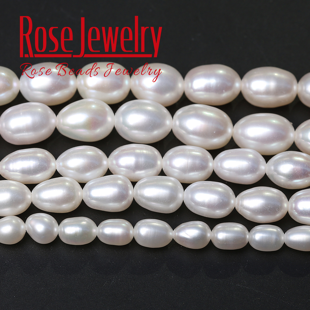 5A Quality 100% White Pearl Real Natural Freshwater Cultured Rice Shape Loose Beads 36 cm Strand 3-11 mm Size For Jewelry Making